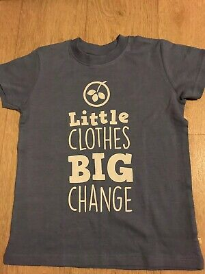 Frugi Organic Cotton T-shirt 5-6 Years Blue Charity Big Change Limited Ed