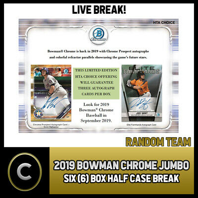 2019 Bowman Chrome Baseball Jumbo 6 Box (Half Case) Break #A473 - Random Teams