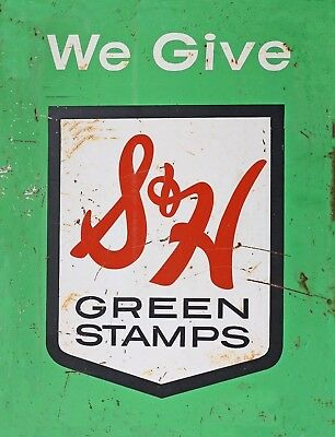 """TIN SIGN """"S&H Green Stamps"""" Vintage Art Deco Garage Wall Decor"""