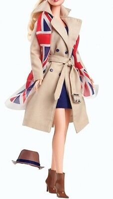 United Kingdom Barbie outfit tan trench and scarf boots and dress