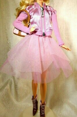Pink satin party Barbie outfit fits fashion fever body