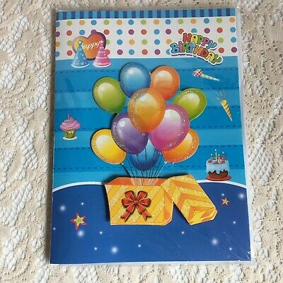 Happy Birthday Musical Card Gift Box Balloons Chocolate Cake Red Bow