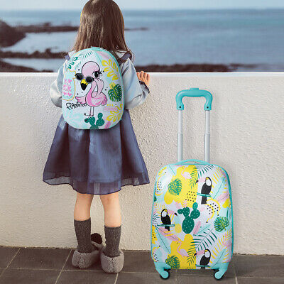 Kids Carry On Luggage Set 12'' Backpack & 16'' Rolling Trolley Suitcase Flamingo