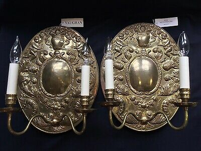Vaughan Lighting Early Dutch Antique Brass Wall Sconce (2) WL29  Made in England