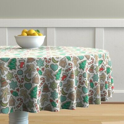 Round Tablecloth Cookies Christmas Gingerbread Xmas Sweets Winter Cotton Sateen