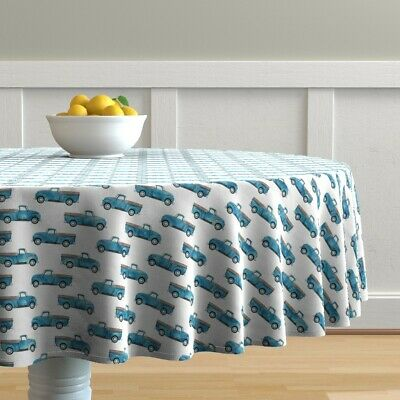 Round Tablecloth Blue Truck Baby Boy Farm Vintage Watercolor Cotton Sateen