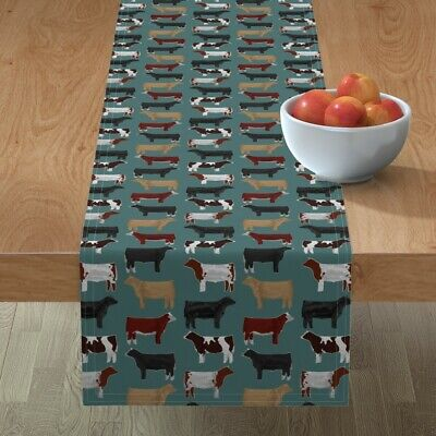 Table Runner Cow Cows Cattle Farm Animal Bovine Showstock Steer Cotton Sateen