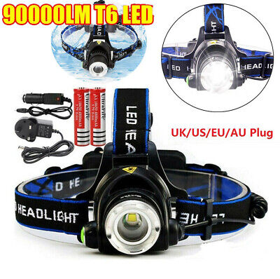 90000LM 5X T6 LED Headlamp charger Rechargeable Head Light Flashlight Torch Lamp