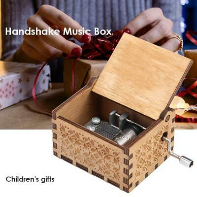 Retro Wood Hand Cranked Music Box Xmas Party Gift Household Decor Ornament