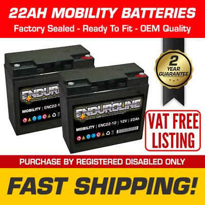 Pair of 22Ah Replacement Mobility Scooter Wheelchair Batteries - 12V 22 Amp