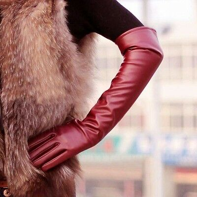 Winter Long Leather Gloves Ladies Women Touchscreen Length Elbow Evening Party