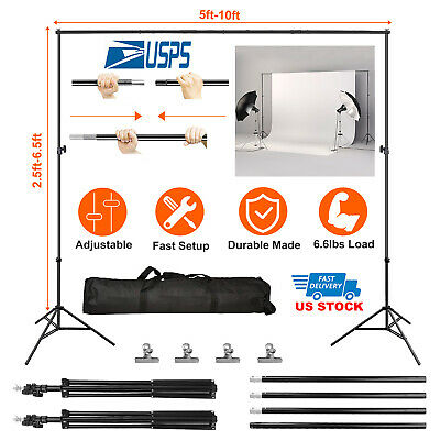 10Ft Pro Photography Photo Backdrop Support Stand Set Background Crossbar Kit US