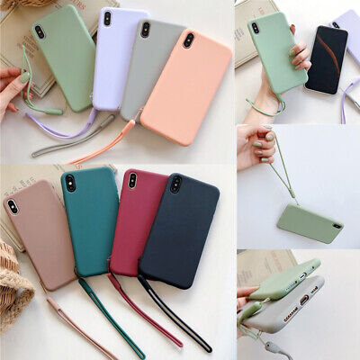 Fashion Candy Soft Phone Case Cover With Strap For iPhone 11 Pro XR XS 6s 7 8 +