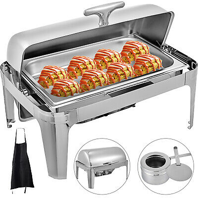 Chafing Dish Roll Top Chafer 9 L Buffet Catering Tray Silver With Apron