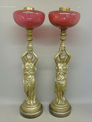 Superb Pair Of Antique 26 Inch French Figural Oil Lamps