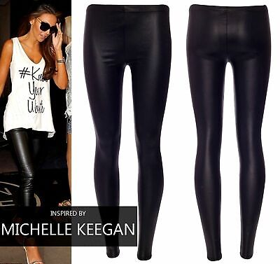 3New Ladies Sexy Shiny Wet Look Full Ankle Length Leather Leggings 6-22 *WetLg
