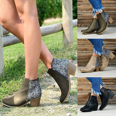 Women Ladies Glitter Chunky Block Mid Heel Zip Up Chelsea Ankle Boots Shoes Size