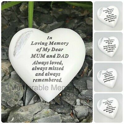 White & Silver Angel Feather Memorial Heart Tribute Grave Remembrance Ornament