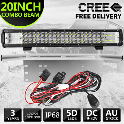 """20''inch 126W CREE LED Light Bar Flood Spot Combo w/23""""inch Number Plate w/Wire"""