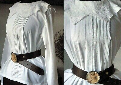 1970s VINTAGE CHIC VICTORIAN/EDWARDIAN STYLE BLOUSE W PINTUCKS & NICE COLLAR