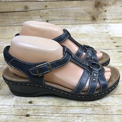 Clarks Women's Size 7.5 M Strappy Slingback Sandal Leather Navy Blue Heels