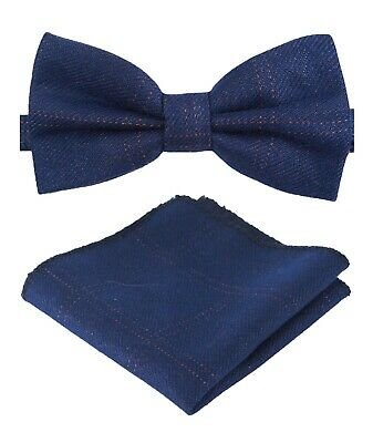 Mens Boys Matching Check Tweed Dickie Bow Tie & Pocket Square Set in Navy Blue