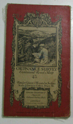 1928 Old OS Ordnance Survey One-Inch Popular Edition Map 45 Buxton & Matlock
