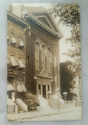 Rare 1909 Brooklyn POST CARD earliest known RPPC JEWISH SYNAGOGUE New York City