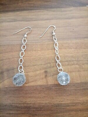 sterling silver stunning glass balls on chains dangle earrings