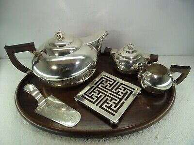 Japanese Export c1930 Solid Silver 5 Piece Tea Service on Rosewood Tray