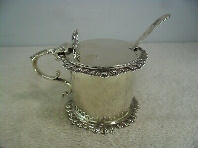 Georgian Style Solid Silver Mustard Pot, Sibray Hall & Co London 1906