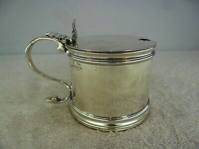 Georgian Style Solid Silver Drum Mustard Pot, Stokes & Ireland Chester 1908