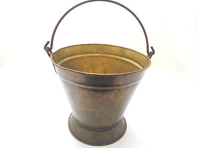 Antique Iron-Handled Brass Fire Pail or Water Bucket