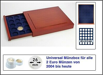 Look Mahagonifarbende Real Wood Coin Box for 30 x Coins in Coin Capsules 26