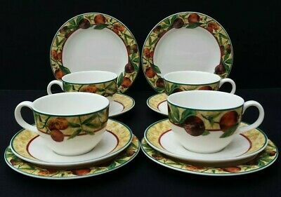 ROYAL DOULTON  Fine China Everyday  ' AUGUSTINE ' Tea Trios x4. Mint Condition.
