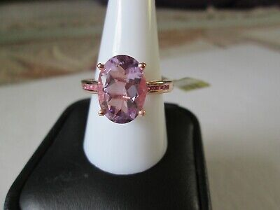 Rose De France Amethyst and Sapphire RG over Sterling Silver Ring TGW 5.52 cts.