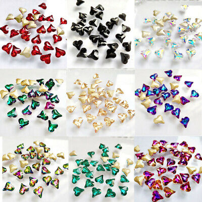 70pc 8*9mm Nail Art Rhinestones Crystal 3D Tips Heart Glass Colorful Decoration