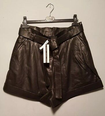 Genuine Soft Calf Leather Women's High Waist Black Topshop Shorts Size 16 BNWT