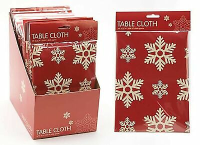 """54"""" x 72"""" Contemporary Red Snowflake Design Tablecloth (PM233)"""