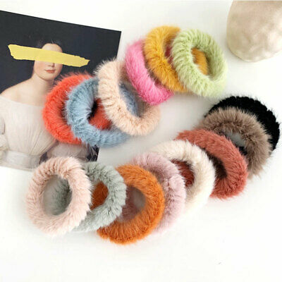 Girls Candy Color Faux Mink Fur Scrunchie Fluffy Hair Ring Rubber Band Hair Ties
