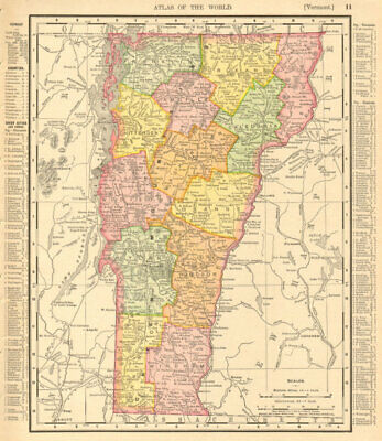 Vermont state map showing counties. RAND MCNALLY 1906 old antique chart