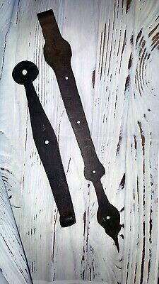 2 Antique Hand Forged Black Wrought Iron Barn Door Strap Hinges