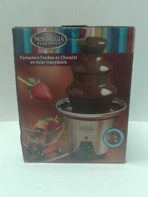 3-Tier Nostalgia Electrics Party Stainless Steel Chocolate Fondue Fountain New