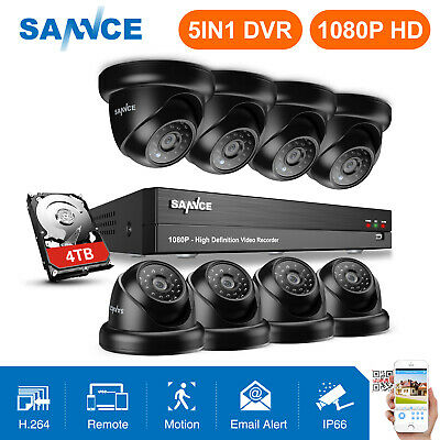 SANNCE Full 1080P Security Camera 4CH/ 8CH 5in1 DVR IR Night 2MP CCTV System HDD
