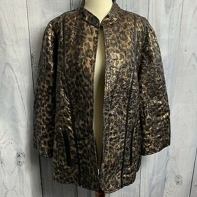 Chicos Womens Jacket Size 3 Metallic Open Front Black & Gold 3/4 Sleeves Pockets