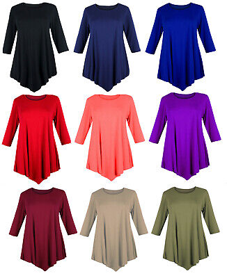 Womens V-Cut Tunic Top Plus Size Loose Dress Swing 12-26 Ladies Baggy 3/4 Sleeve