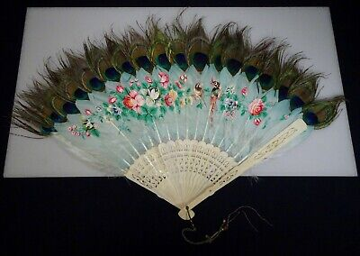 Vintage Antique Chinese Hand Painted Peacock Feather Hand Fan  -  57265