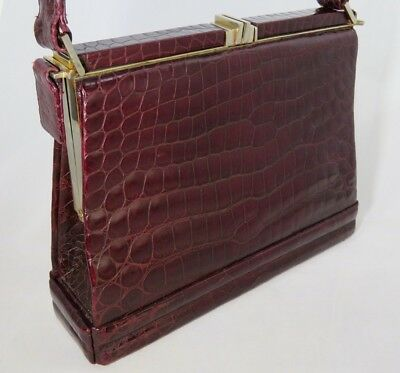 RARE OFFENTHAL FRENCH CROCODILE PURSE, ART DECO c. 1935, BURGUNDY RED, DRAWERS