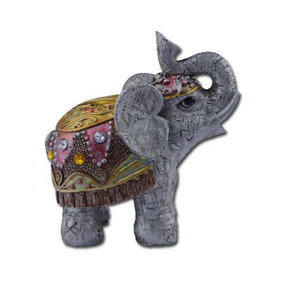 3.7'' Feng Shui Elegant Elephant Trunk Statue Lucky Wealth Figurine Decor