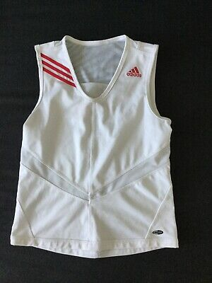 ADIDAS kids white pink tennis sports fitness vest top size 30/32 age 10-11